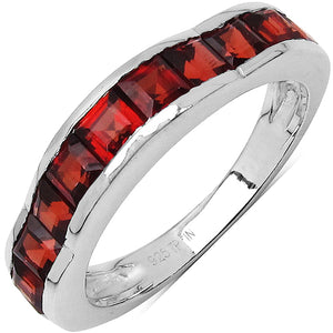925 Sterling Silver 3.00 mm 2.25 ctw Square Garnet Ring