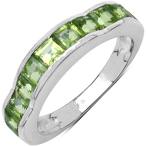 925 Sterling Silver 3.00 mm 1.68 ctw Square Peridot Ring