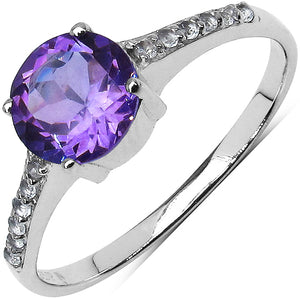 925 Sterling Silver 7.00 mm 1.20 ctw Round Amethyst White Topaz Ring