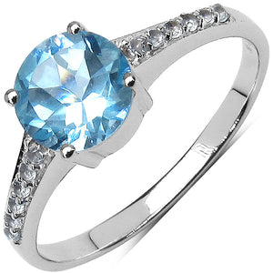 925 Sterling Silver 7.00 mm 1.54 ctw Round Blue Topaz White Topaz Ring