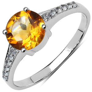 925 Sterling Silver 7.00 mm 1.20 ctw Round Citrine White Topaz Ring