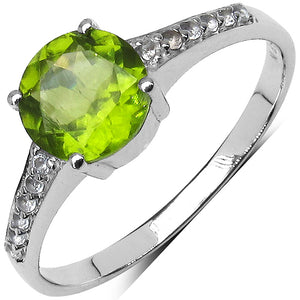 925 Sterling Silver 7.00 mm 1.20 ctw Round Peridot White Topaz Ring