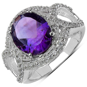 925 Sterling Silver 11x9 mm 3.20 ctw Oval Amethyst White Topaz Ring