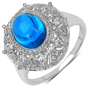 925 Sterling Silver 9x7 mm 2.10 ctw Oval Blue Topaz Ring