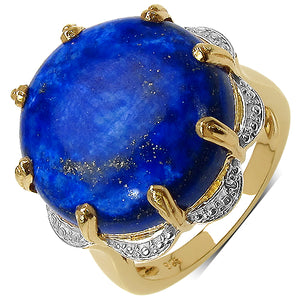 925 Sterling Silver 18.00 mm 21.78 ctw Round Lapis Ring