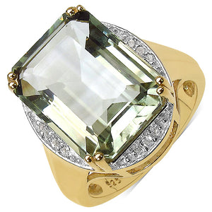 Sterling Silver 16x12 mm Octagon Green Amethyst White Topaz Ring