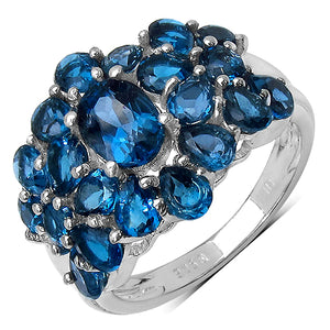 925 Sterling Silver 7x5 mm 1.00 ctw Oval Blue Topaz Blue Topaz Ring
