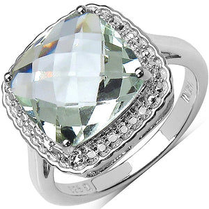 925 Sterling Silver 11.00 mm 4.36 ctw Cushion Green Amethyst Ring