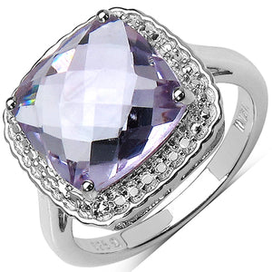 925 Sterling Silver 11.00 mm Cushion Pink Amethyst Ring