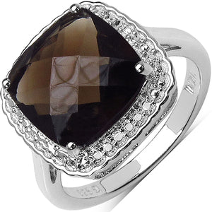 925 Sterling Silver 11.00 mm Cushion Smoky Topaz Ring