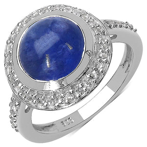 925 Sterling Silver 10.00 mm 4.00 ctw Round Tanzanite White Topaz Ring