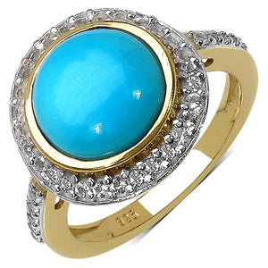 925 Sterling Silver 10.00 mm 3.02 ctw Round Turquoise White Topaz Ring