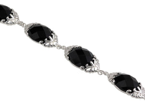 "7.5"" 925 Sterling Silver Black Onyx Filigree Bracelet"
