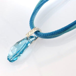 18 in - Tocara 925 Sterling Silver Blue Crystal Blue Cord Necklace