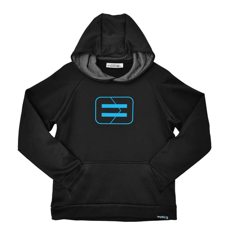 Youth Performance Hoodie - Black - Wireframe Blue