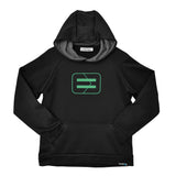 Youth Performance Hoodie - Black - Wireframe Green
