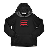 Youth Performance Hoodie - Black - Wireframe Red
