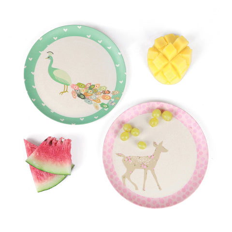 Bamboo 4pk Plates - Peacock and Doe