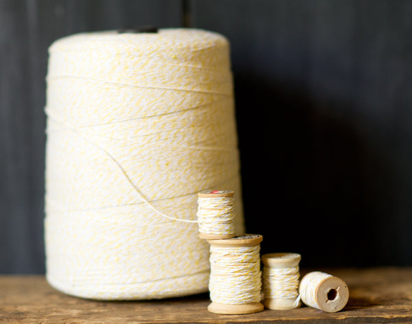 3,400 yard cone of striped cotton bakers twine