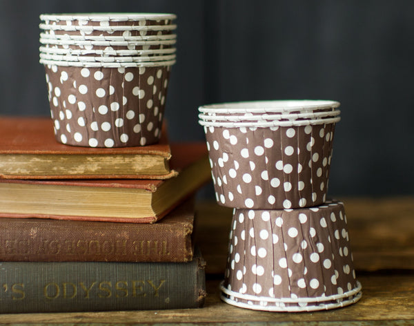 brown and white polka dot nut cups or cupcake liners party supplies