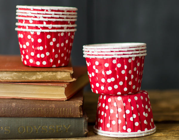 red and white polka dot nut cups or cupcake liners party supplies