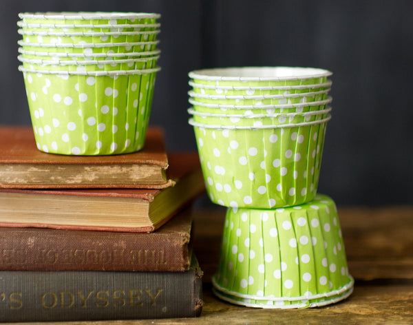 lime green and white polka dot nut cups or cupcake liners party supplies
