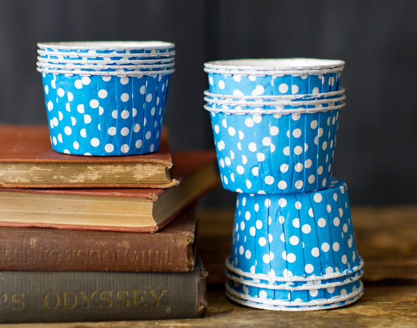 blue and white polka dot nut cups or cupcake liners party supplies