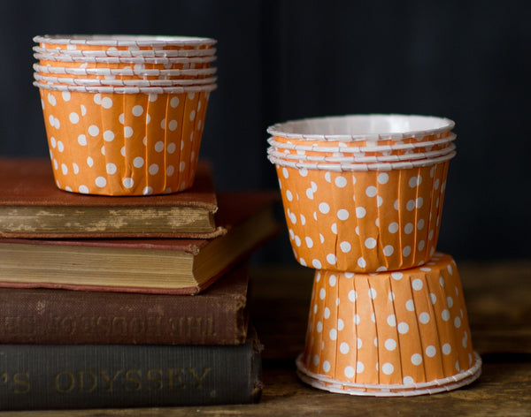 orange and white polka dot nut cups or cupcake liners party supplies