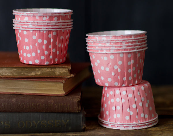 pink and white polka dot nut cups or cupcake liners party supplies