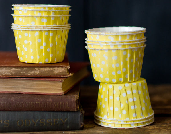 yellow and white polka dot nut cups or cupcake liners party supplies