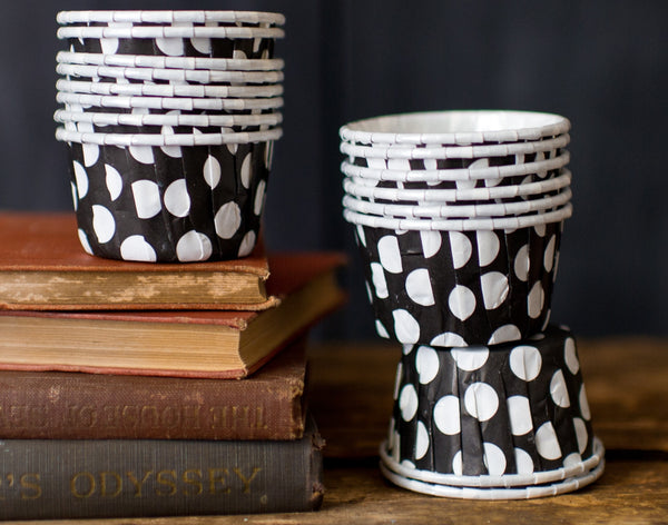 black and white cow print polka dot nut cups or cupcake liners party supplies