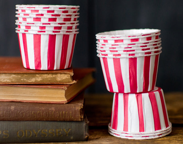 red and white striped nut cups or cupcake liners party supplies