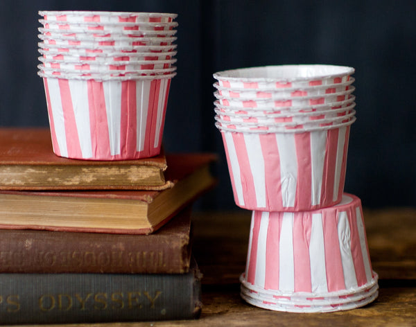 pink and white striped nut cups or cupcake liners party supplies