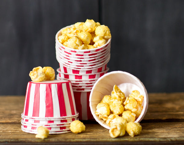 red and white striped nut cups to serve popcorn for circus party