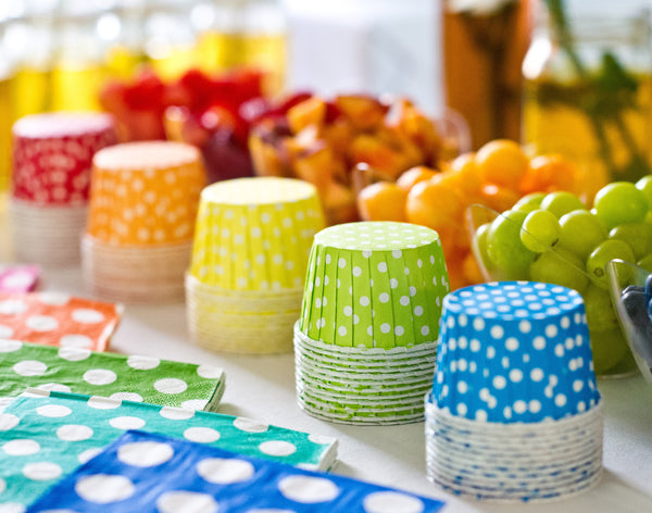 bright polka dot nut cups for a kids party