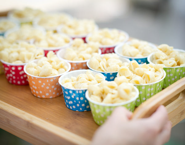 rainbow polka dot nut cups to serve popcorn for party