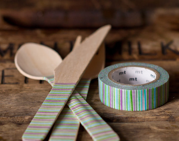 green, blue, purple, and grey variegated striped MT Brand Japanese washi tape roll