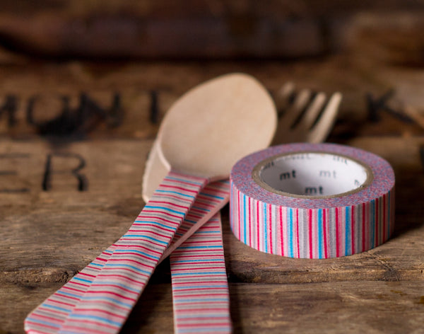 red, grey, and blue variegated striped MT Brand Japanese washi tape roll