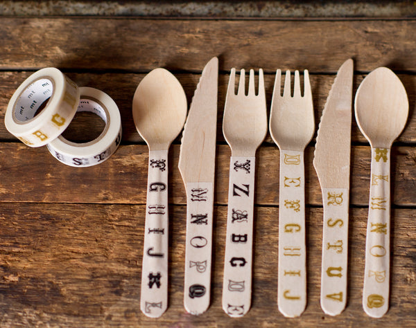 decorate wooden cutlery with gold and black vintage alphabet print MT Brand Japanese washi tape