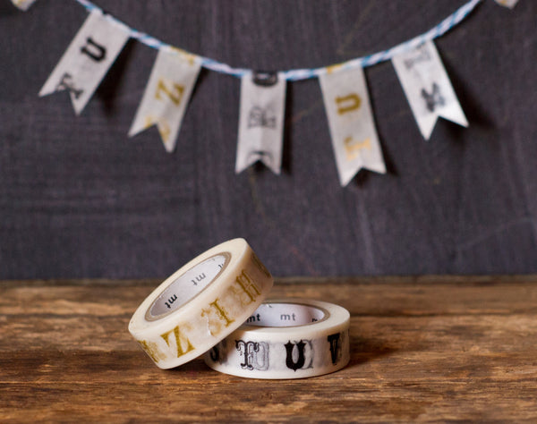 gold and black vintage alphabet print MT Brand Japanese washi tape rolls