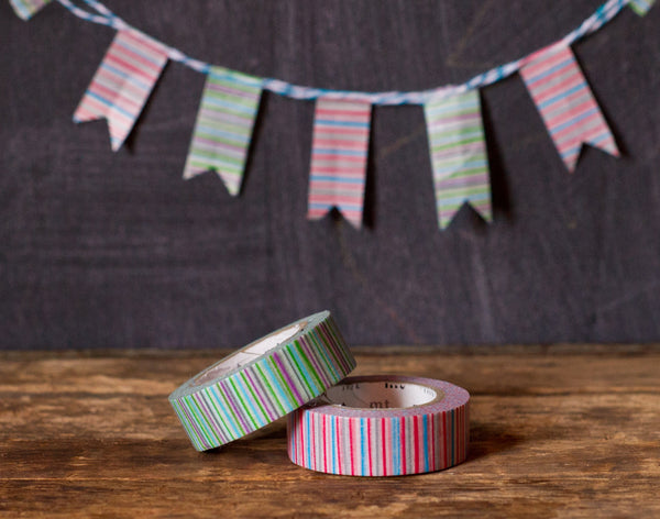 red and green variegated striped MT Brand Japanese washi tape rolls
