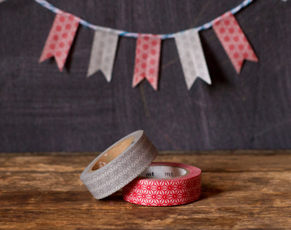 grey and red flower printed Japanese washi tape roll MT Brand