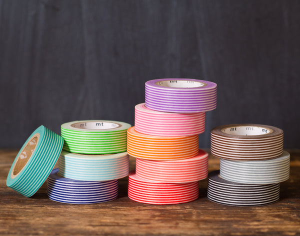 MT Brand striped japanese washi tape rolls in a rainbow of colors