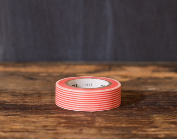 coral and white striped MT Brand Japanese washi tape roll