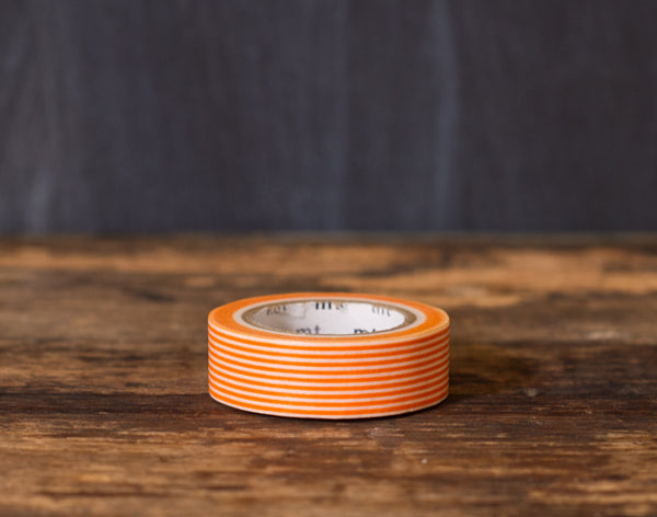 orange and white striped MT Brand Japanese washi tape roll