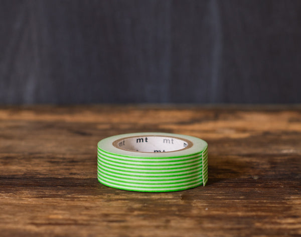 green and white striped MT Brand Japanese washi tape roll