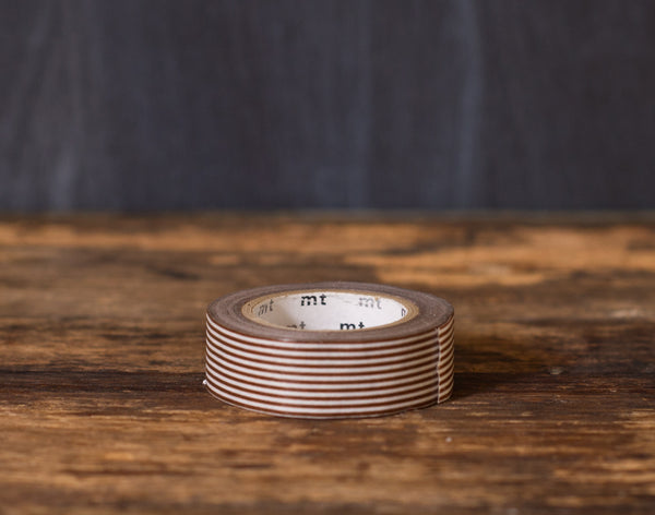 brown and white striped MT Brand Japanese washi tape roll