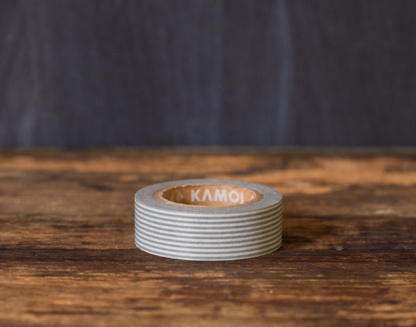grey and white striped MT Brand Japanese washi tape roll