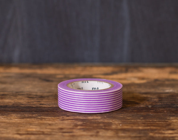 purple and white striped MT Brand Japanese washi tape roll