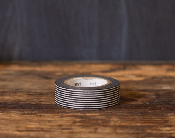 black and white striped MT Brand Japanese washi tape roll